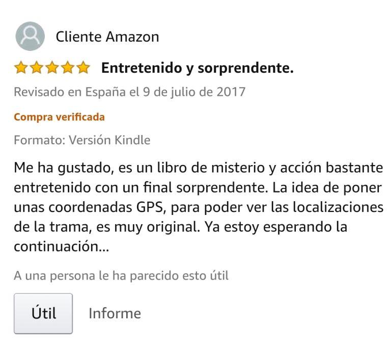 """OPINIONES: Opinión 5 estrellas en Amazon de uno de los clientes de Amazon sobre el libro CAER de Javier de Frutos: """"ENTRETENIDO Y SORPRENDENTE. Me ha gustado, es un libro de misterio y acción bastante entretenido con un final sorprendente. La idea de poner unas coordenadas GPS, para poder ver las localizaciones de la trama, es muy original. Ya estoy esperando la continuación... """"."""