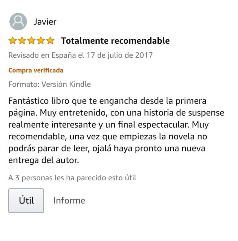 """OPINIONES: Opinión 5 estrellas en Amazon de uno de los clientes de Amazon sobre el libro CAER de Javier de Frutos: """"Totalmente recomendable. Fantástico libro que engancha desde la primera página. Muy entretenido, con una historia de suspense realmente interesante y un final espectacular. Muy recomendable, una vez que empiezas la novela no podrás parar de leer, ojalá haya pronto una nueva entrega del autor""""."""