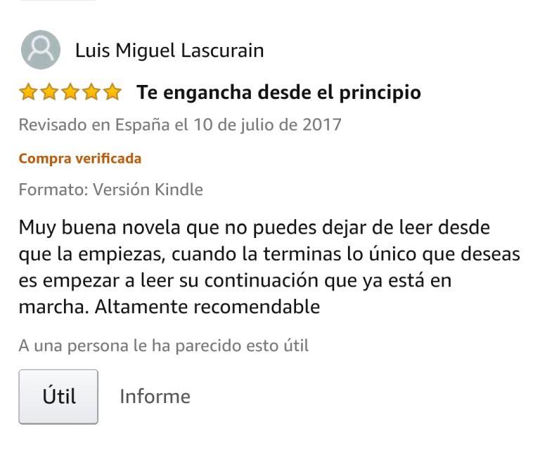 """OPINIONES: Opinión 5 estrellas en Amazon de uno de los clientes de Amazon sobre el libro CAER de Javier de Frutos: """"Te engancha desde el principio. Muy buena novela que no puedes dejar de leer desde que la empiezas, cuando la terminas lo único que deseas es empezar a leer su continuación que ya está en marcha. Altamente recomendable""""."""