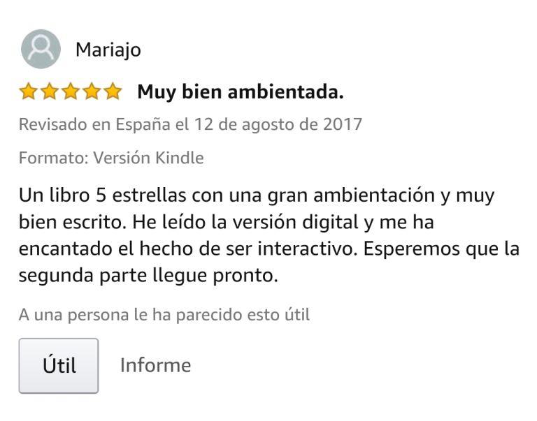 """OPINIONES: Opinión 5 estrellas en Amazon de uno de los clientes de Amazon sobre el libro CAER de Javier de Frutos: """"Un libro 5 estrellas con una gran ambientación y muy bien escrito. He leído la versión digital y me ha encantado el hecho de ser interactivo. Esperemos que la segunda parte llegue pronto""""."""