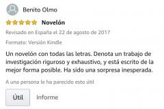 """OPINIONES: Opinión 5 estrellas en Amazon del escritor Benito Olmo sobre el libro CAER de Javier de Frutos: """"Un novelón con todas las letras. Denota un trabajo de investigación riguroso y exhaustivo y está escrito de la mejor forma posible. Ha sido una sorpresa inesperada""""."""