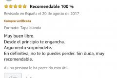 """OPINIONES: Opinión 5 estrellas en Amazon de uno de los clientes de Amazon sobre el libro CAER de Javier de Frutos: """"Recomendable 100%. Muy buen libro. Desde el principio engancha. Argumento sorprendente. En definitiva, no te lo puedes perder. Sin duda, muy recomendable."""""""