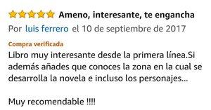 """OPINIONES: Opinión 5 estrellas en Amazon de Luis Ferrero sobre el libro CAER de Javier de Frutos: """"Libro muy interesante desde la primera línea. Si además añades que conoces la zona en la cual se desarrolla la novela e incluso los personajes... Muy recomendable!!!!""""."""